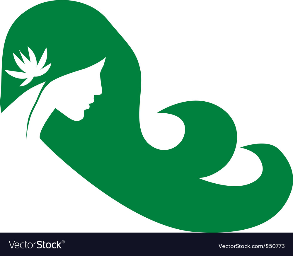 Girl with lotus vector