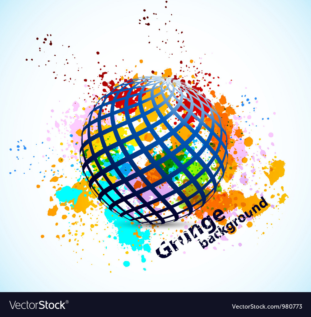 Grunge background with sphere vector