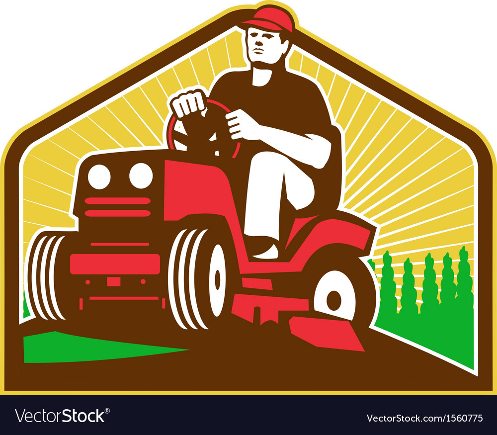 Gardener landscaper ride on lawn mower retro vector