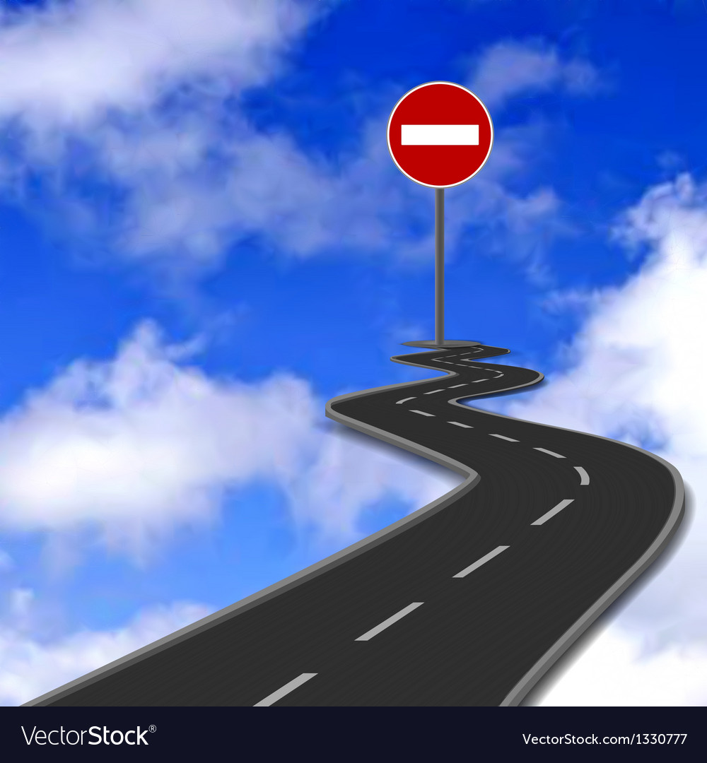 Road red stop road sign and blue sky vector