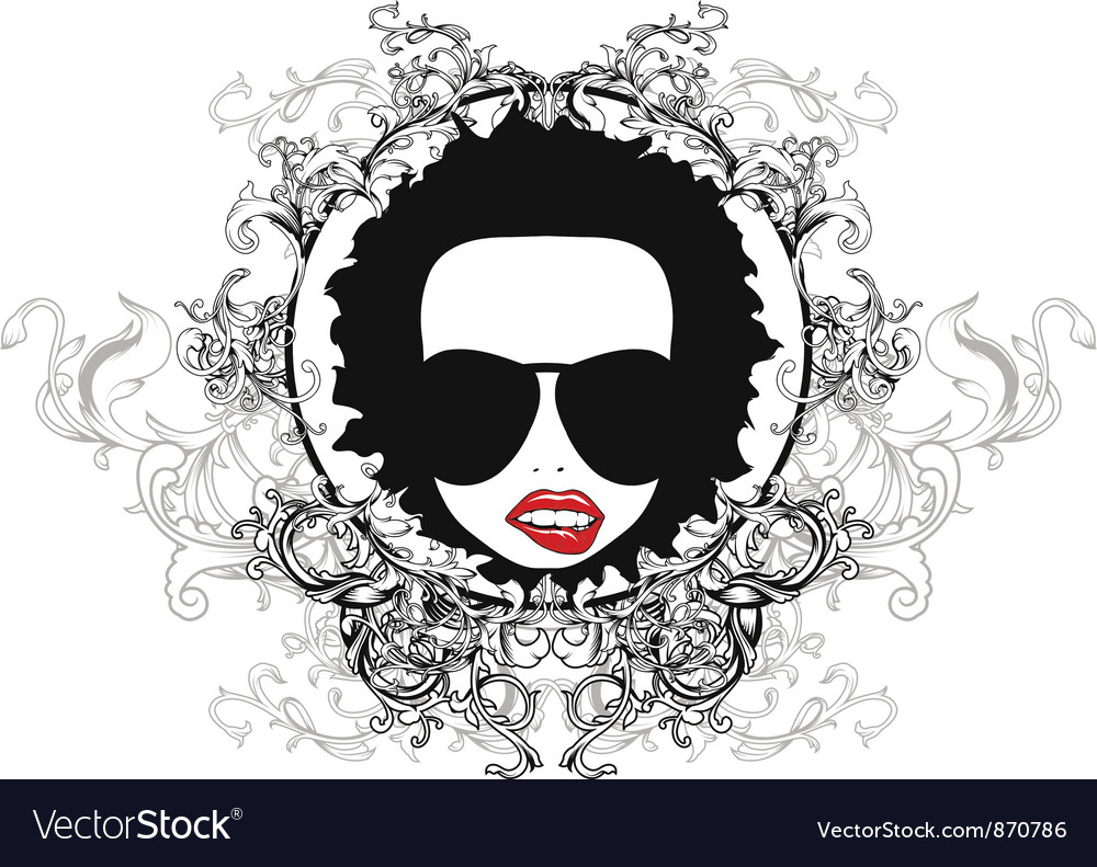 Free funky face emblem vector
