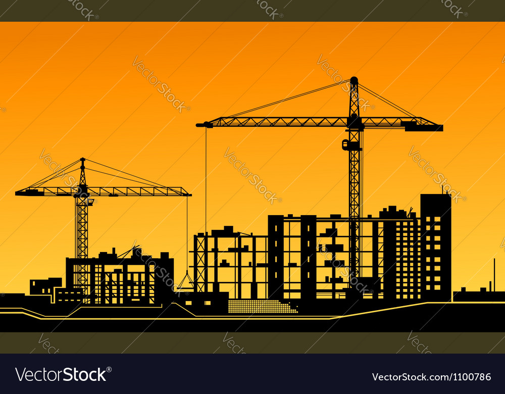 Working cranes on construction site vector