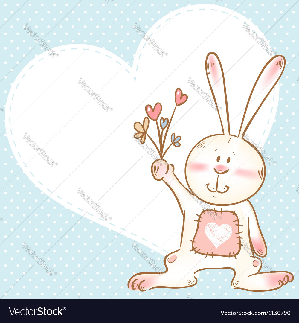 Card with smiling toy bunny holding flowers vector