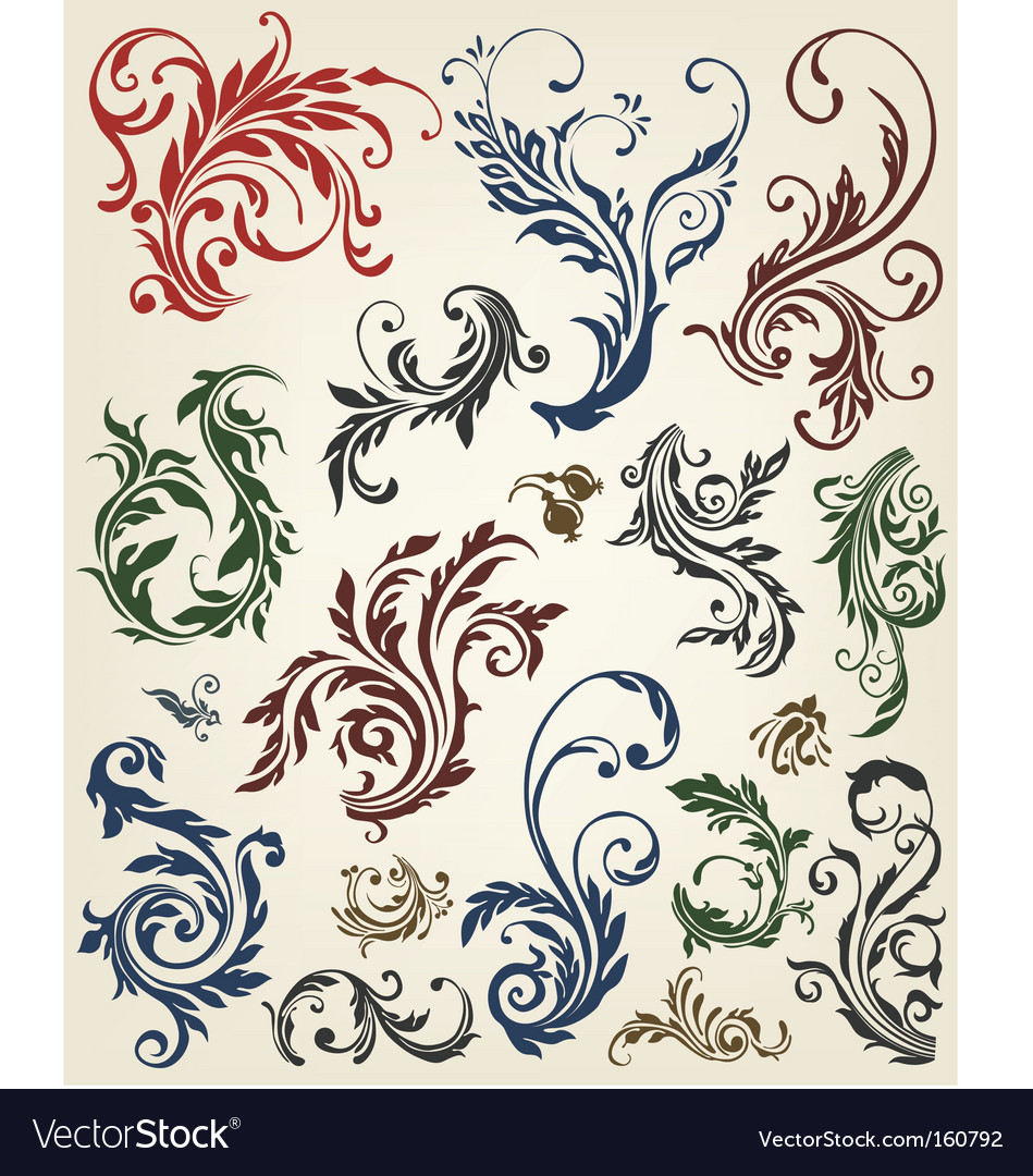 Floral ornament design vector