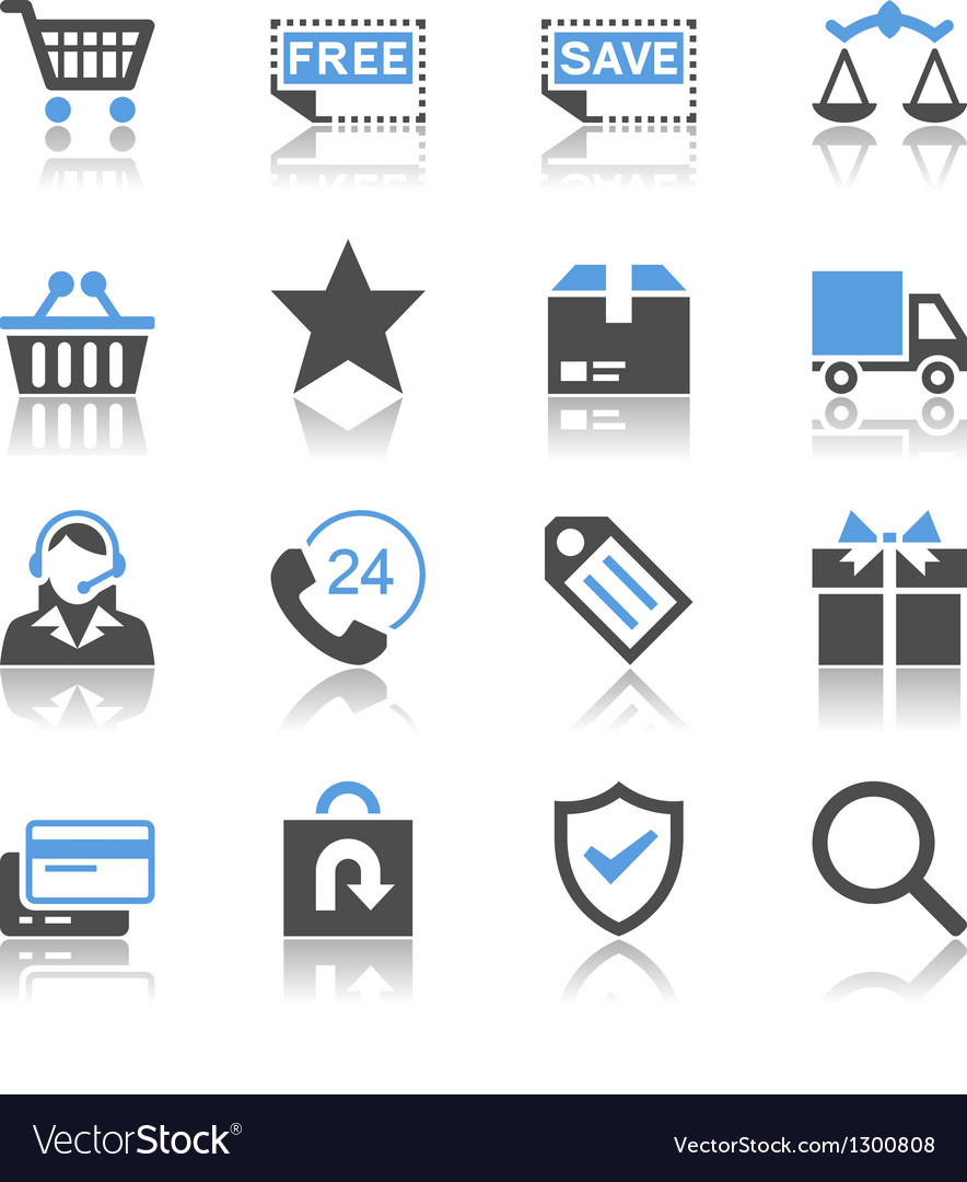 Ecommerce icons reflection vector