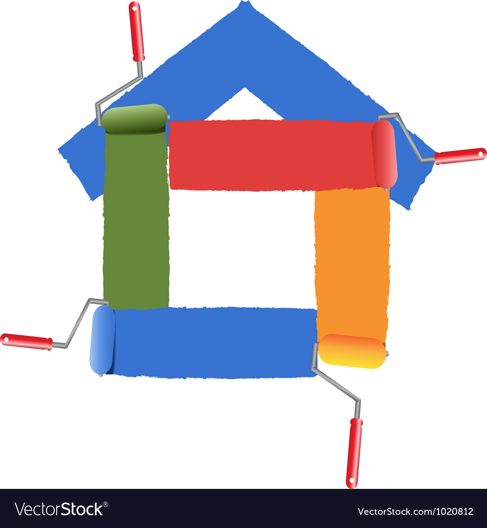 Painting the symbol of home vector