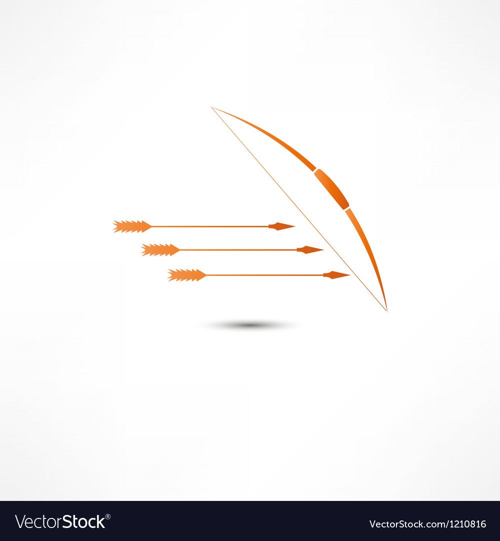 Bow and arrow icon vector