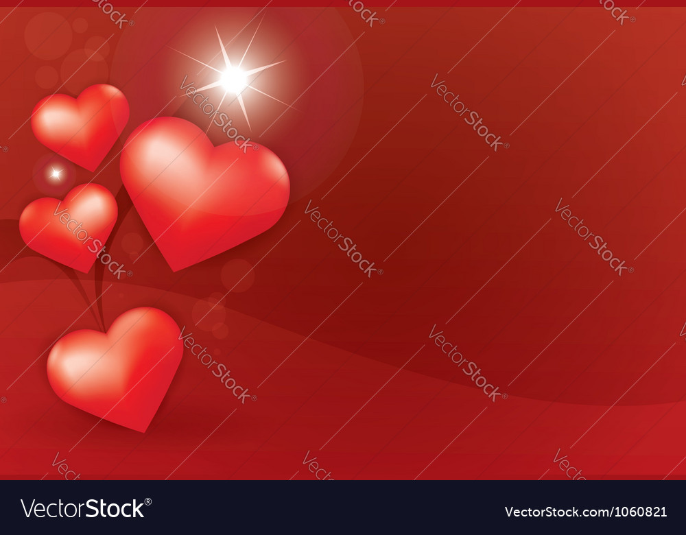 Heart star red background vector