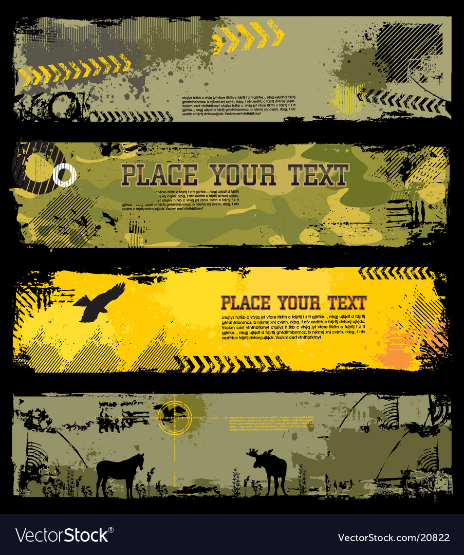 Grunge military banners vector
