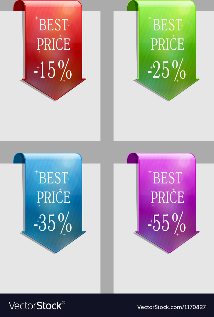 Set of sale or discount labels vector