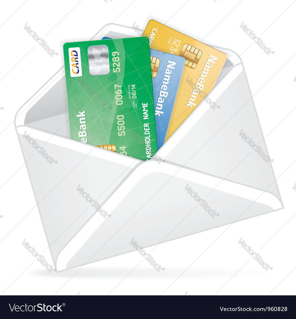 Open the envelope with credit cards vector