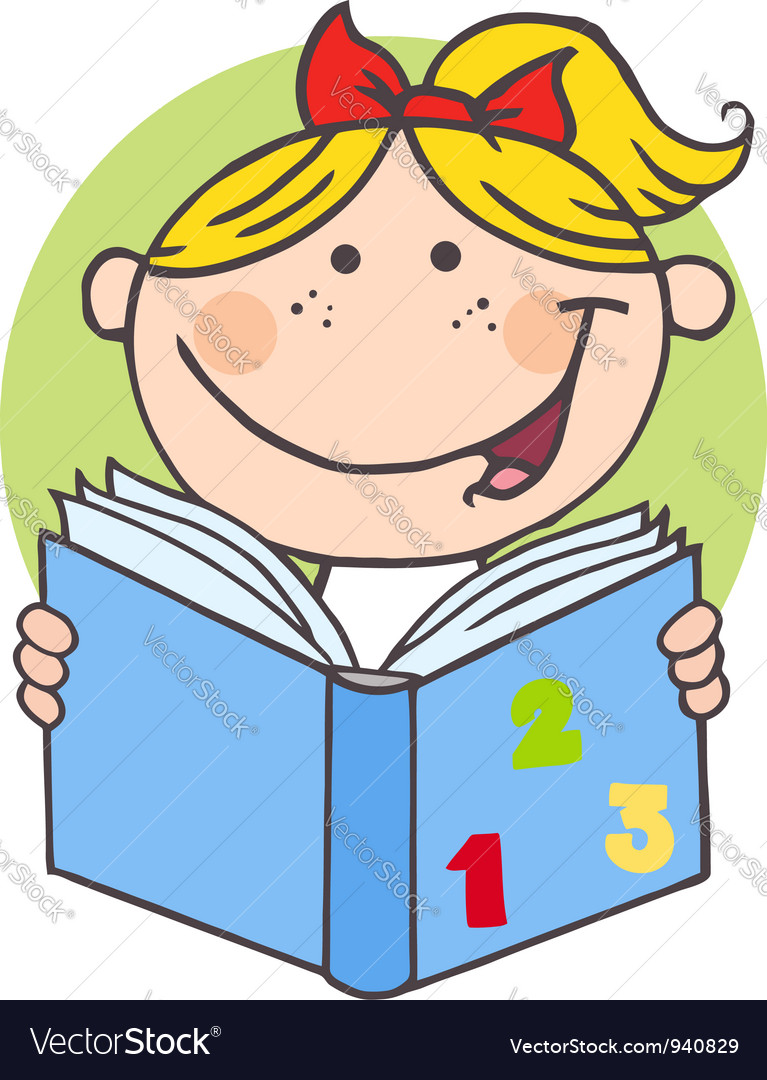 Happy girl reading a book vector