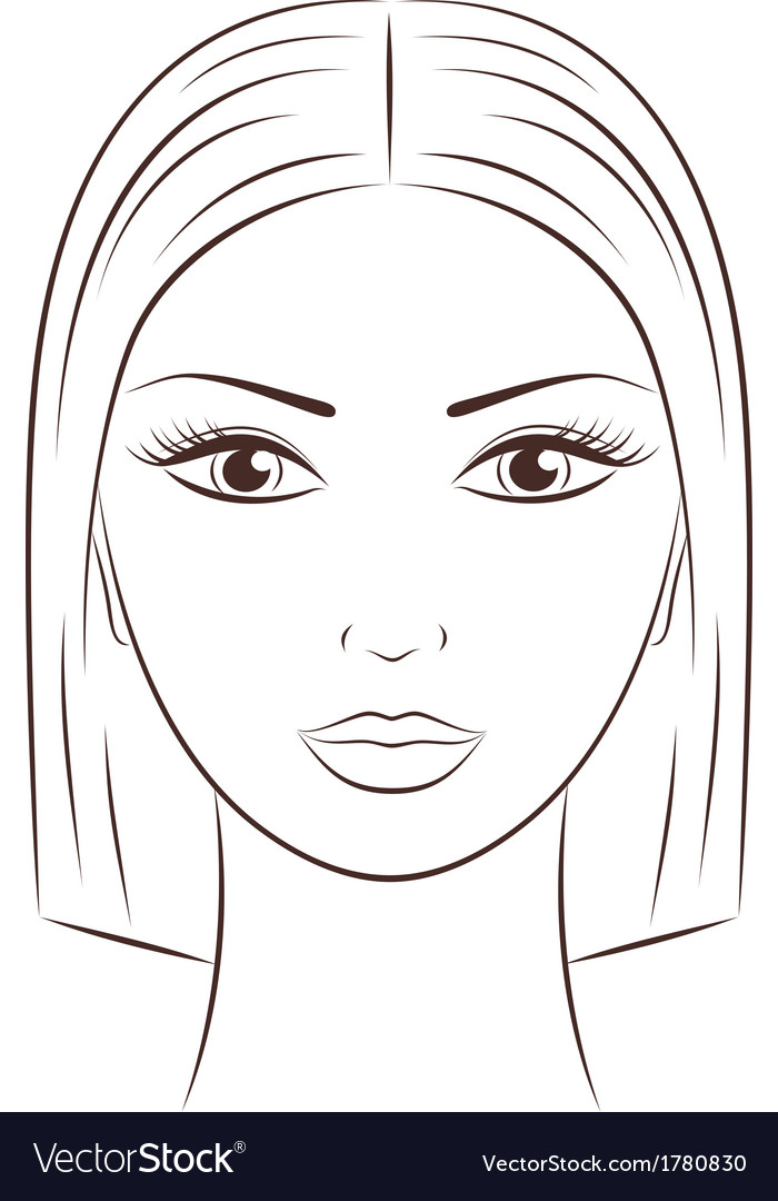 Female face vector by Pushinka - Image #1780830 - VectorStock