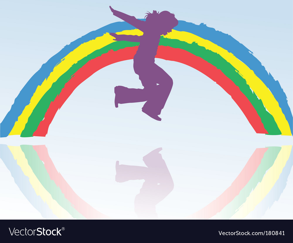 Child amp rainbow vector