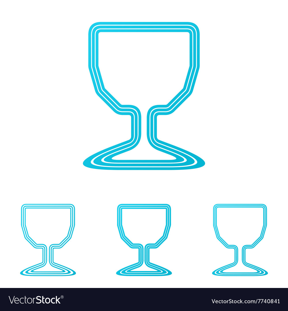 Cyan line wine logo design set