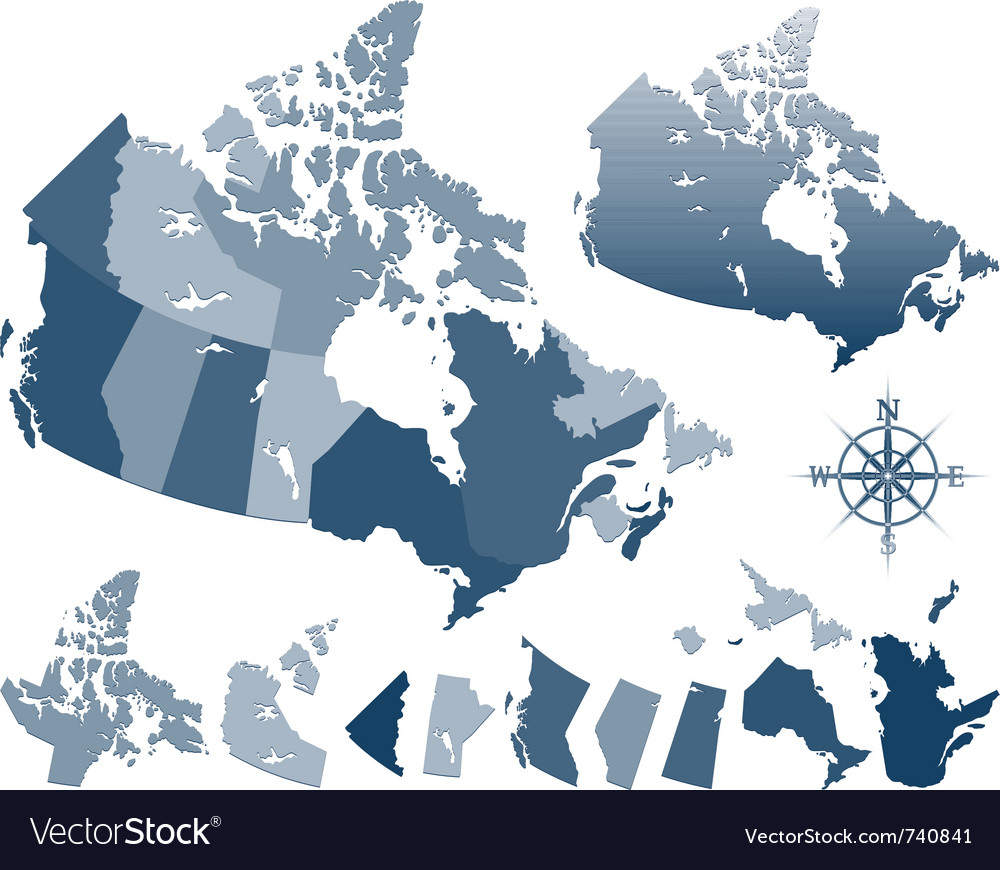 Map of canada and provinces vector