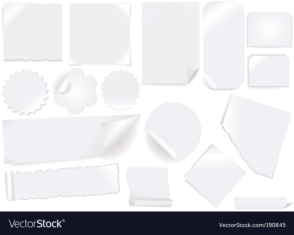 White paper labels and stickers vector