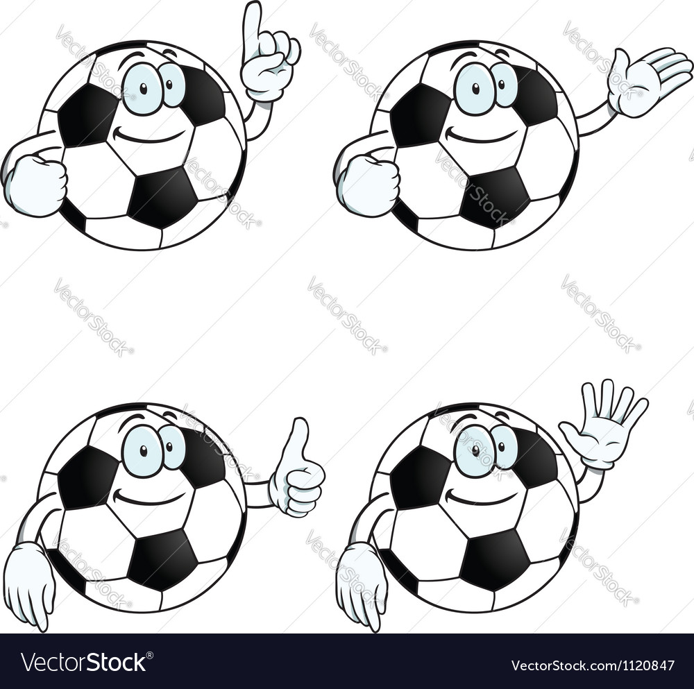 Smiling cartoon football set vector