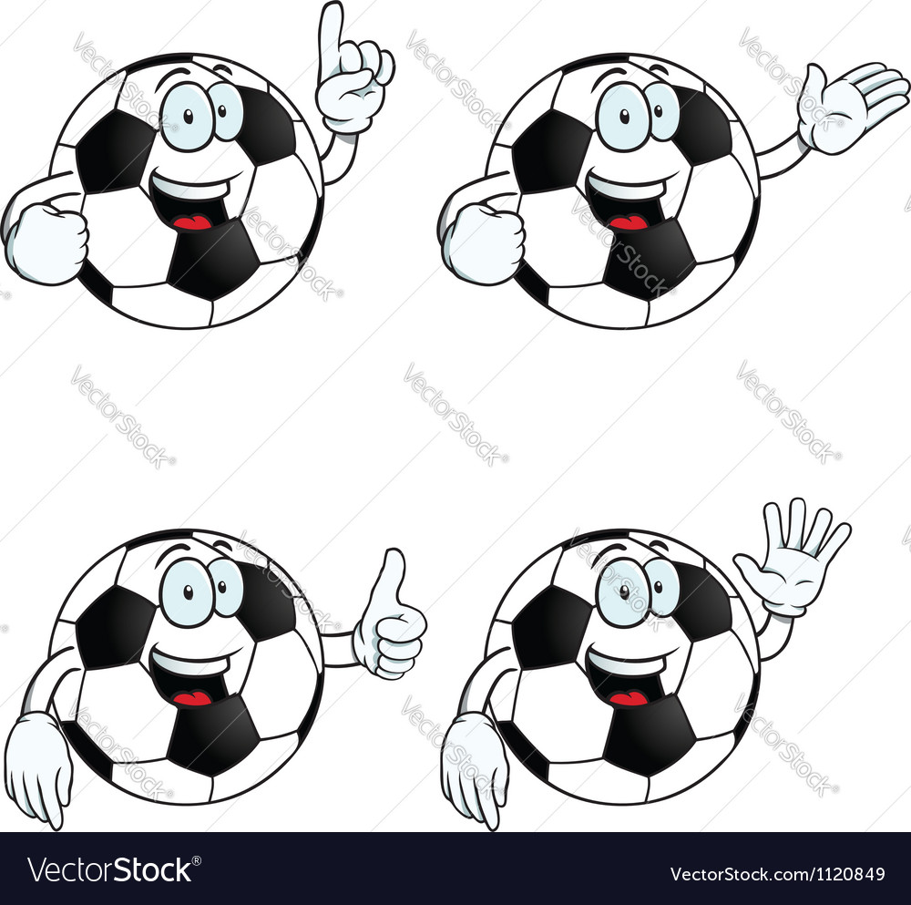 Talking cartoon football set vector