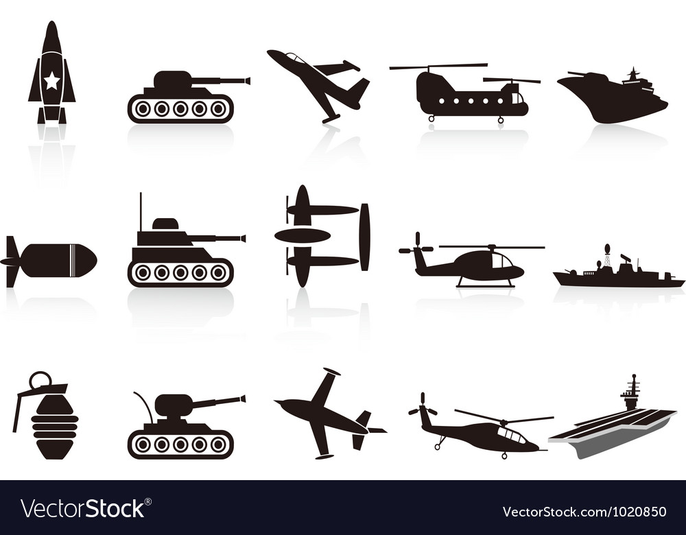 Black war weapon icons set vector