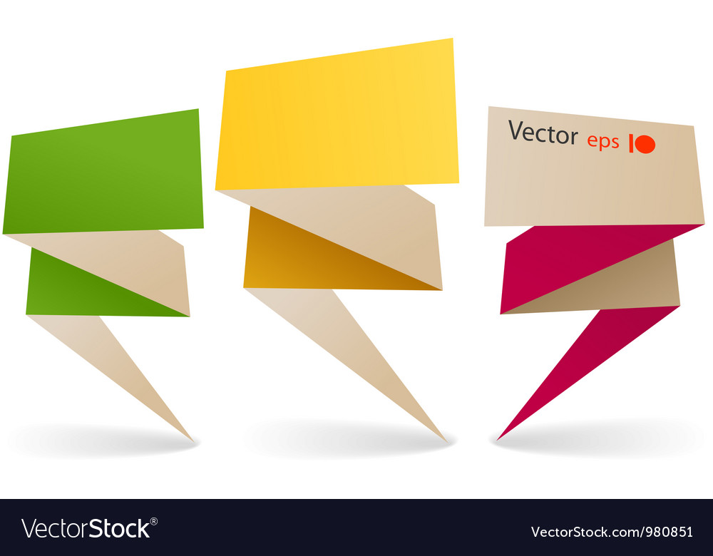 Bilaterial colorful polygonal origami banners vector