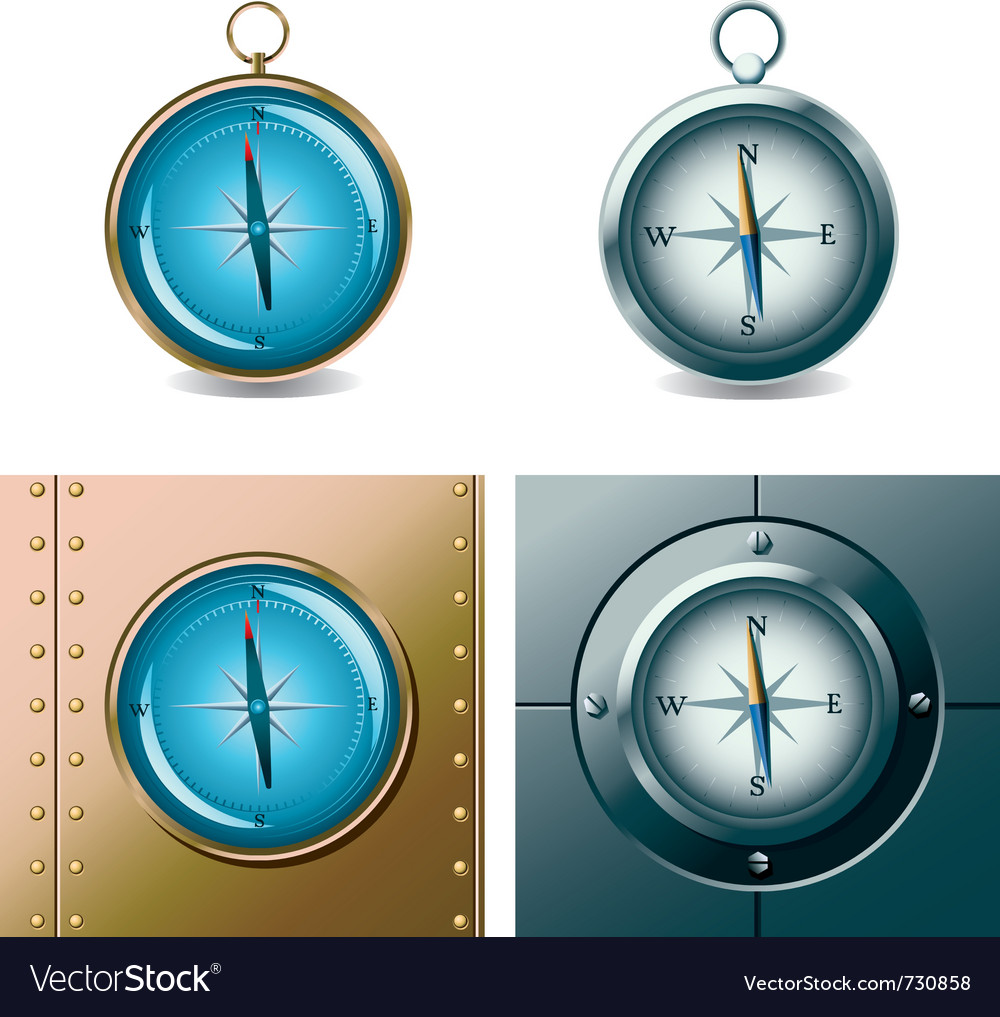 Set of different compasses vector