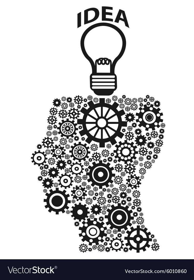 ... Human Head Gears Lightbulb Idea Vector 6010860 On Light Bulb Reflection  ...