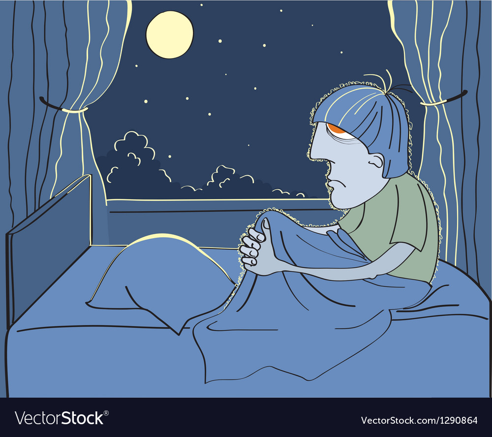 Man suffers from insomnia vector
