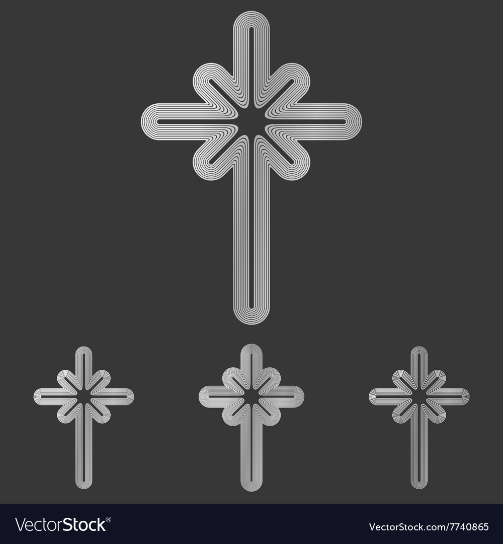 Silver line cross logo design set