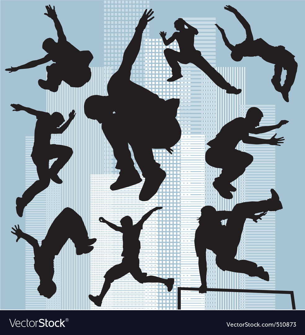 Set silhouettes parkour vector