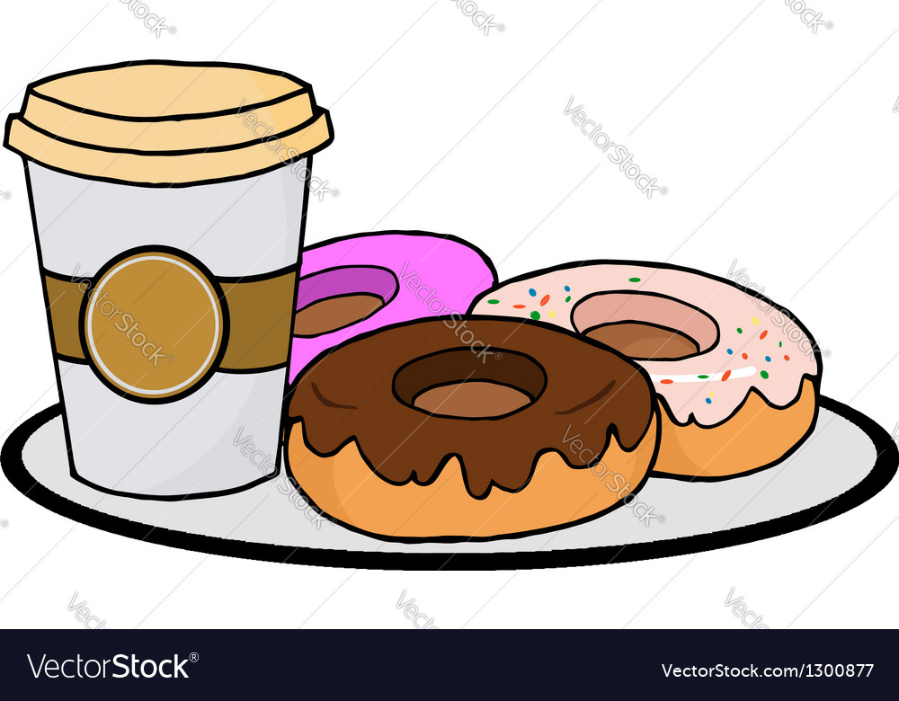 Coffee cup with donuts vector