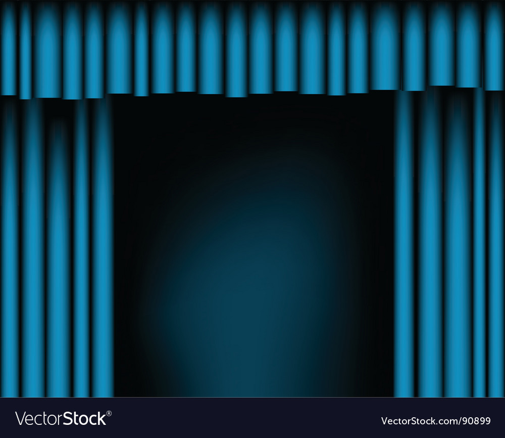 Open curtains vector
