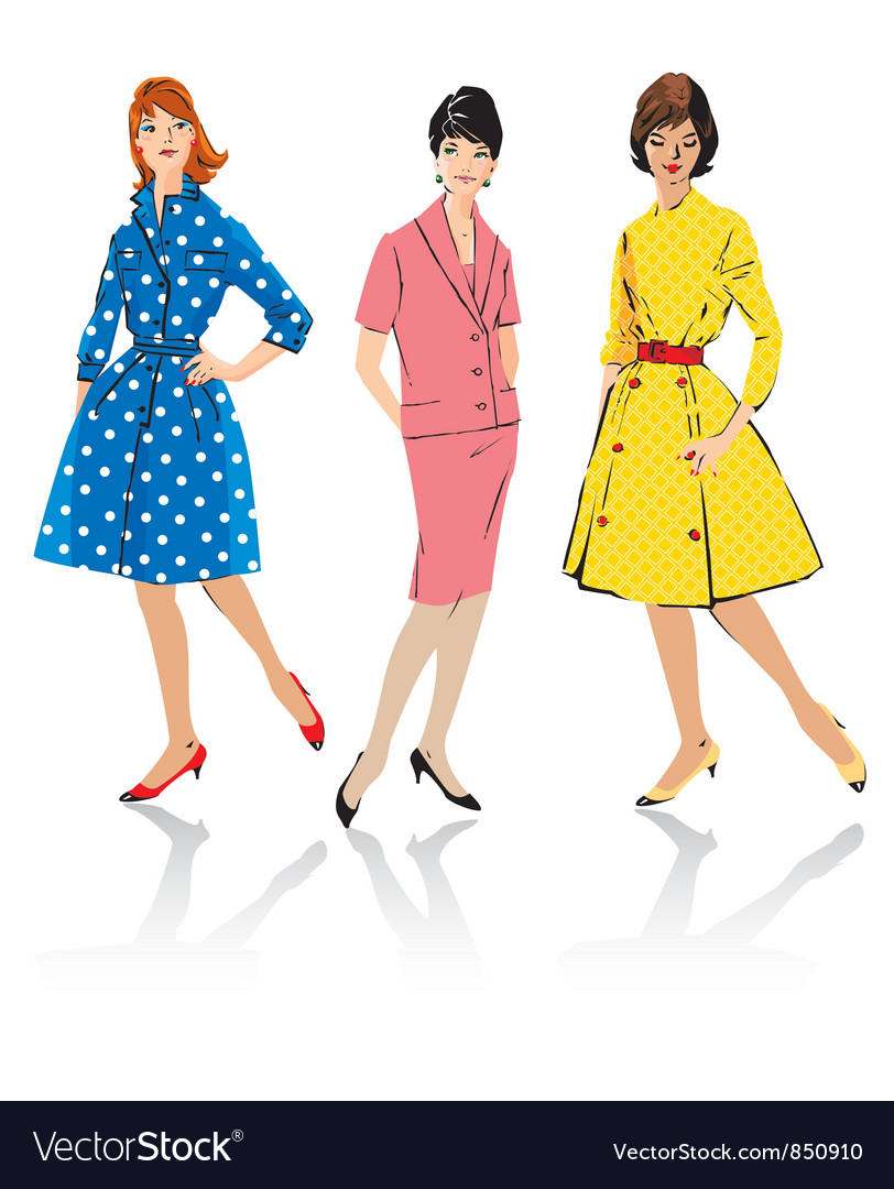 dress style in the 50s vector