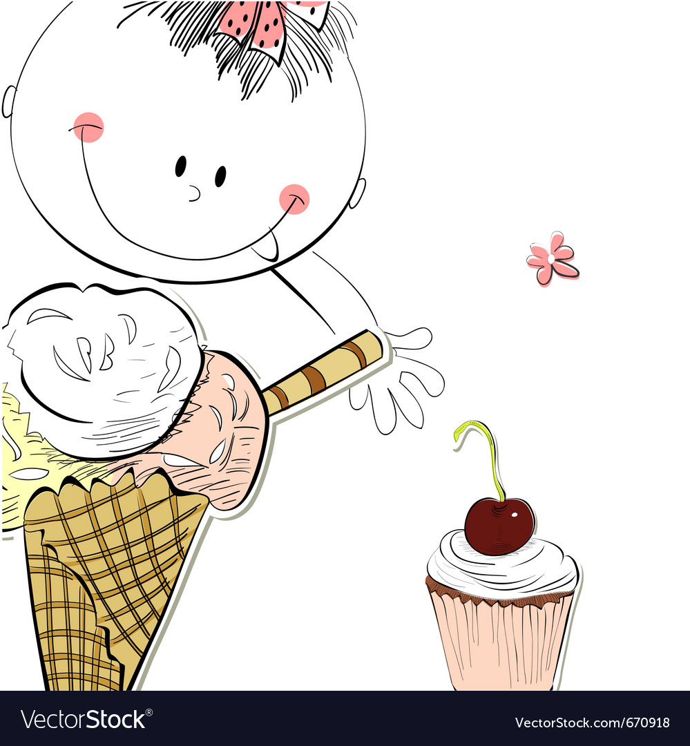 Girl with ice cream vector