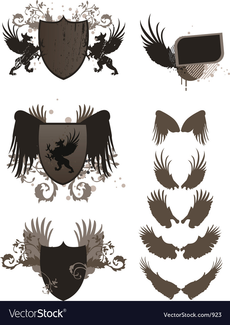 Wings crest grunge vector