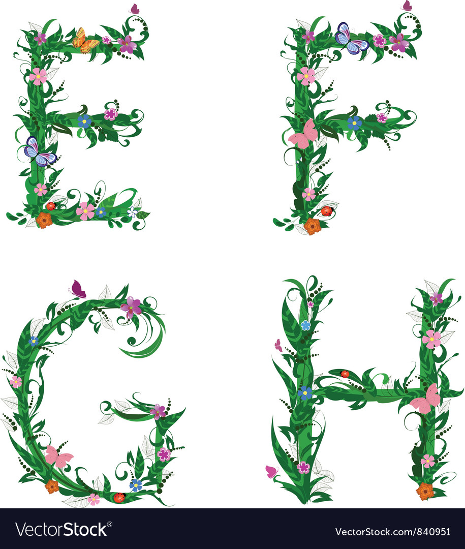 Summer floral alphabet letters vector