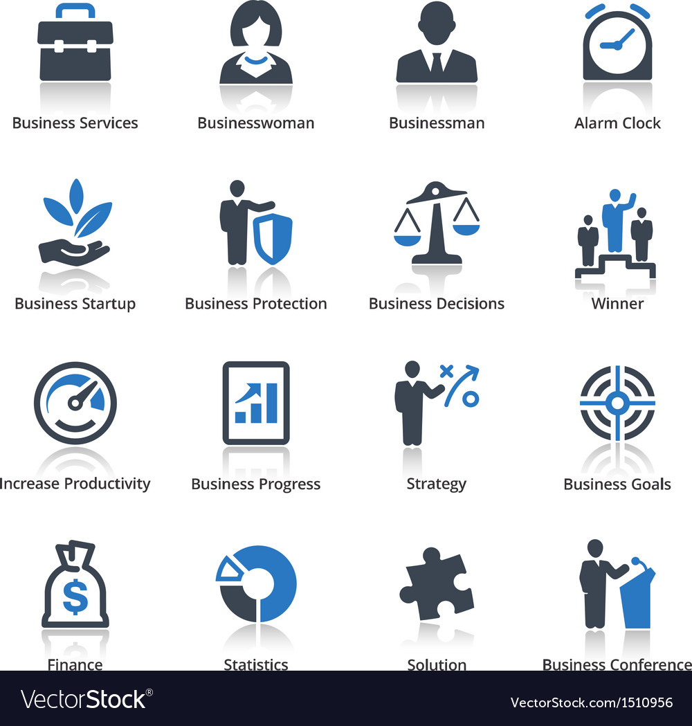 Business icons set 1  blue series vector