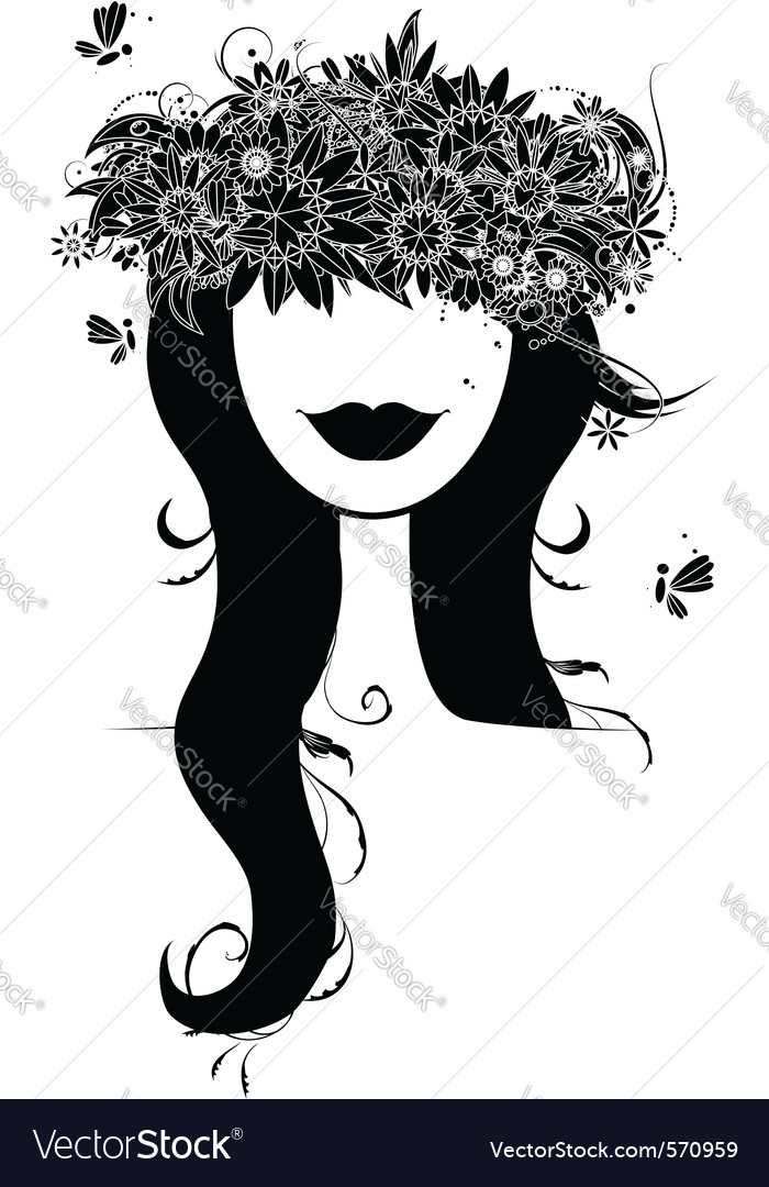 Woman floral wreath vector