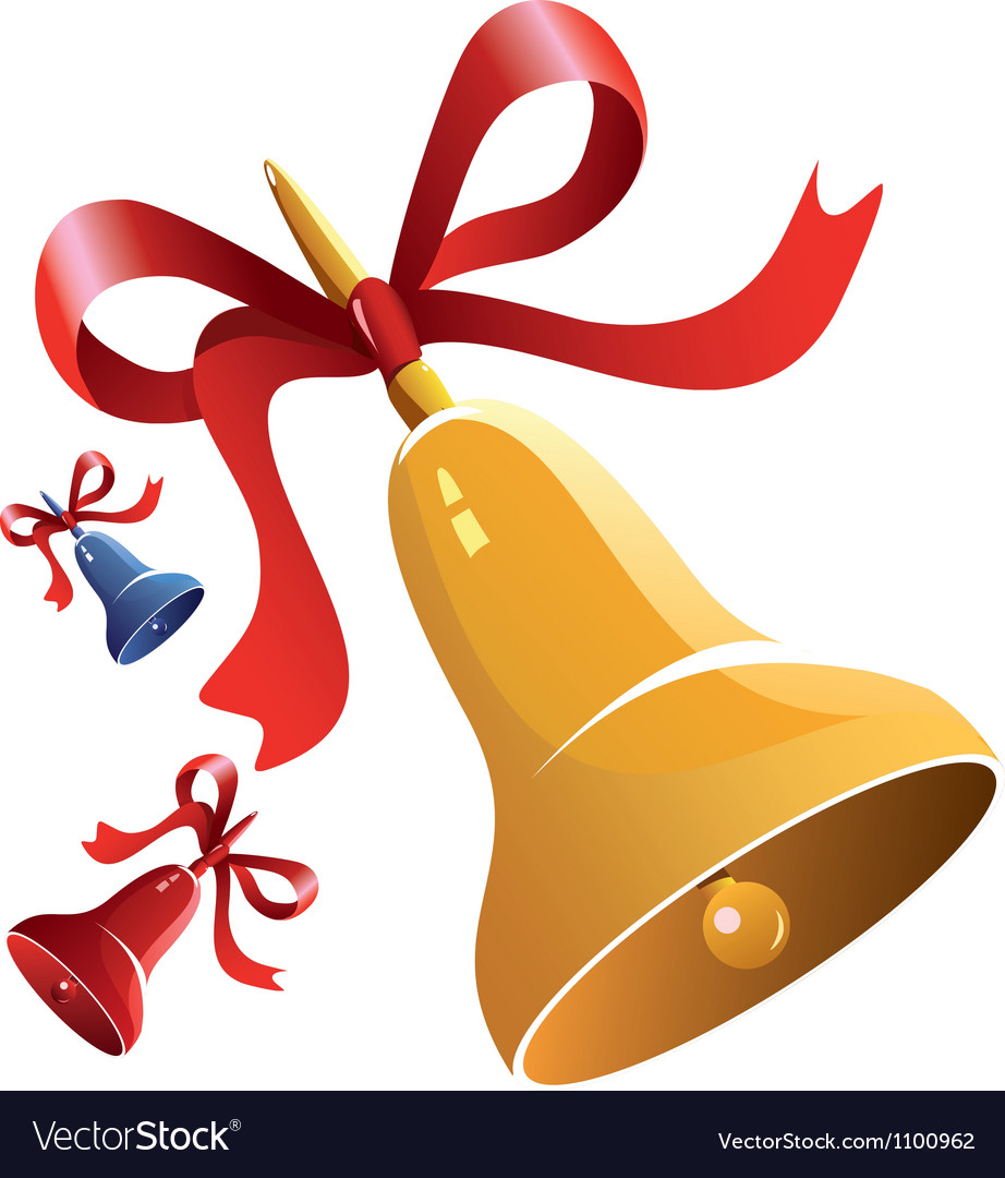 Christmas bell with red ribbon vector