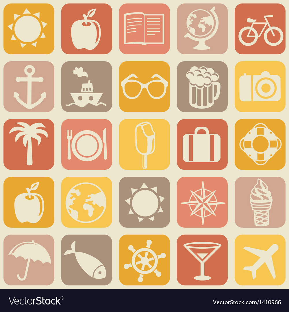Seamless pattern with travel icons vector