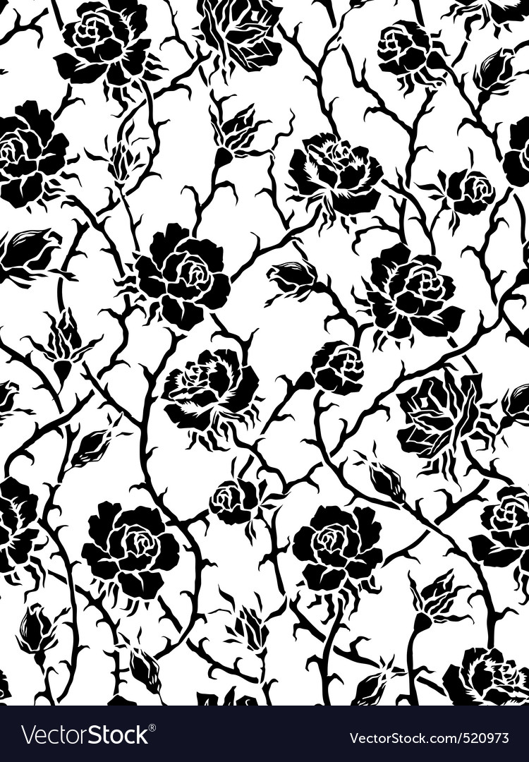 Black Roses Seamless Pattern Vector By Gromaler Image