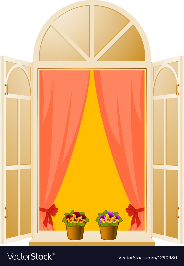 Wood window with pansy in flowerpot vector