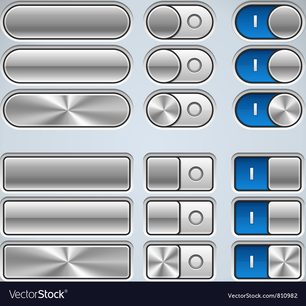 Metal buttons and switchers vector