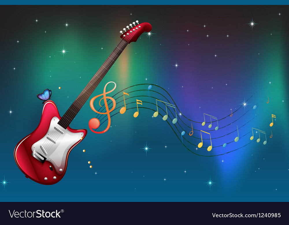 A red guitar with musical notes vector