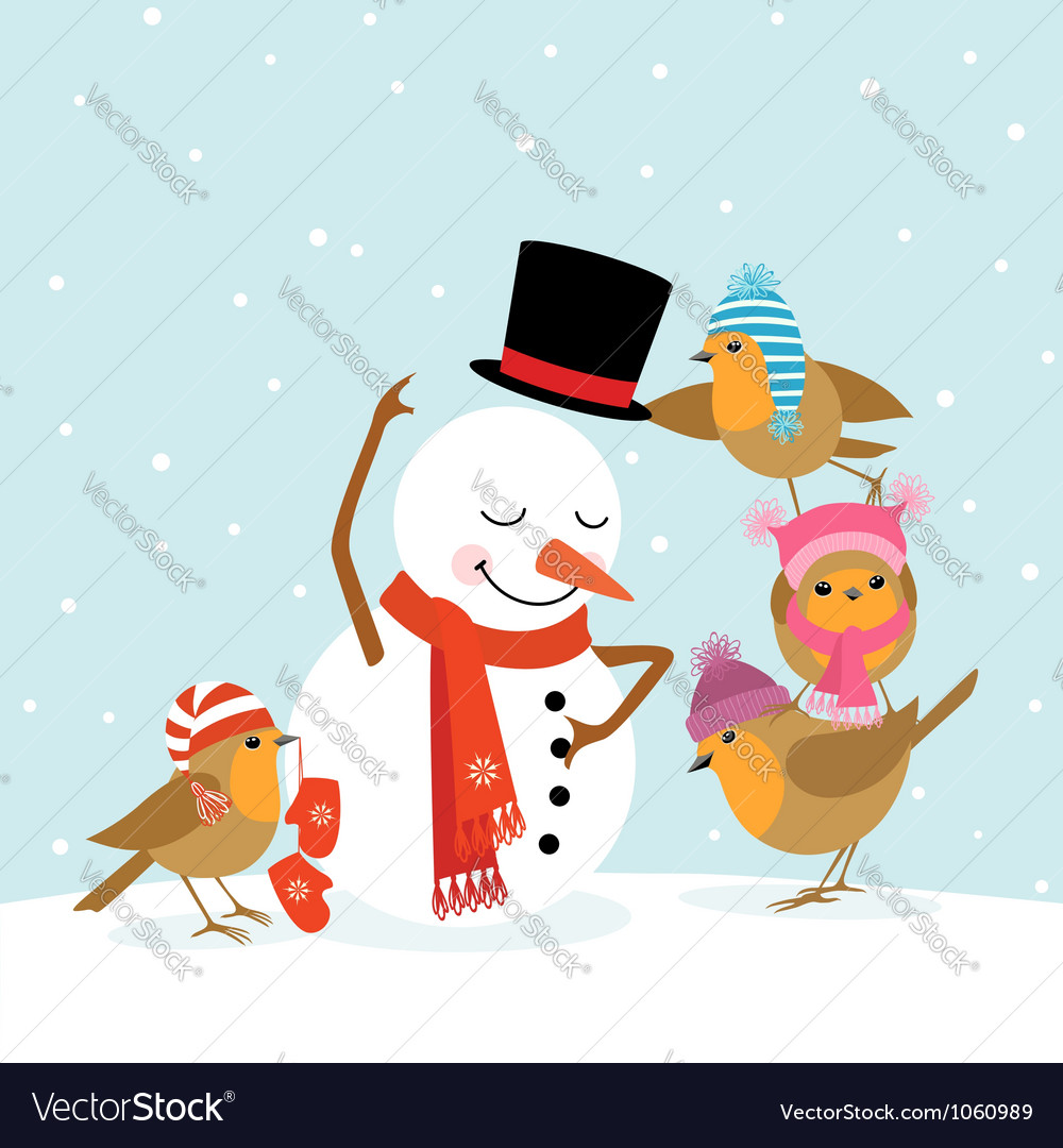 Robins and snowman vector