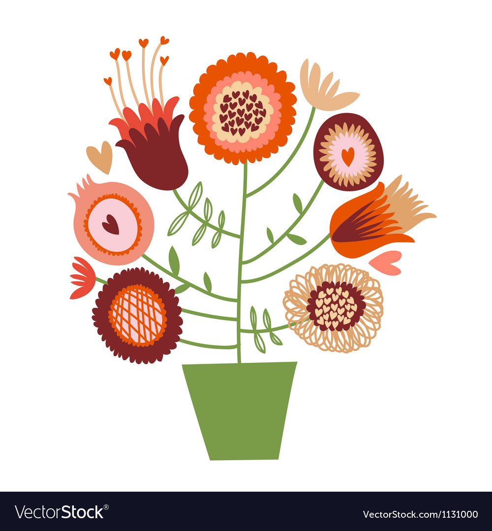 Cute cartoon flower tree vector
