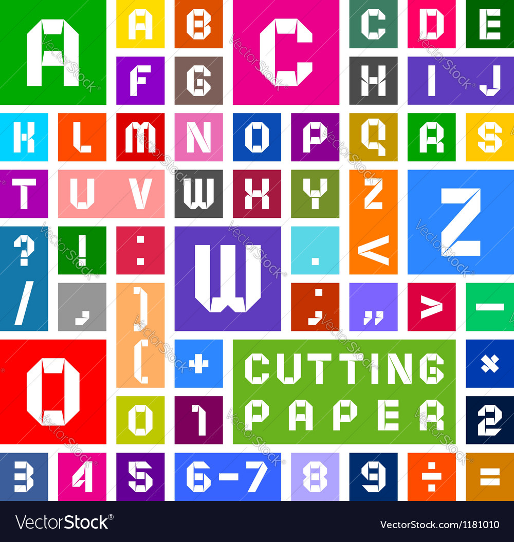 Alphabet of paper cut out white on multicolor vector