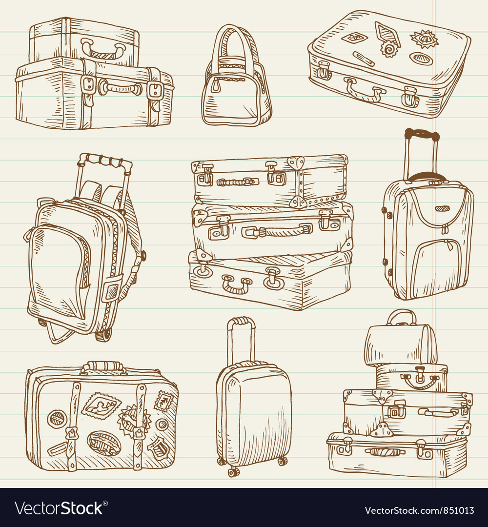 Set of vintage suitcases vector