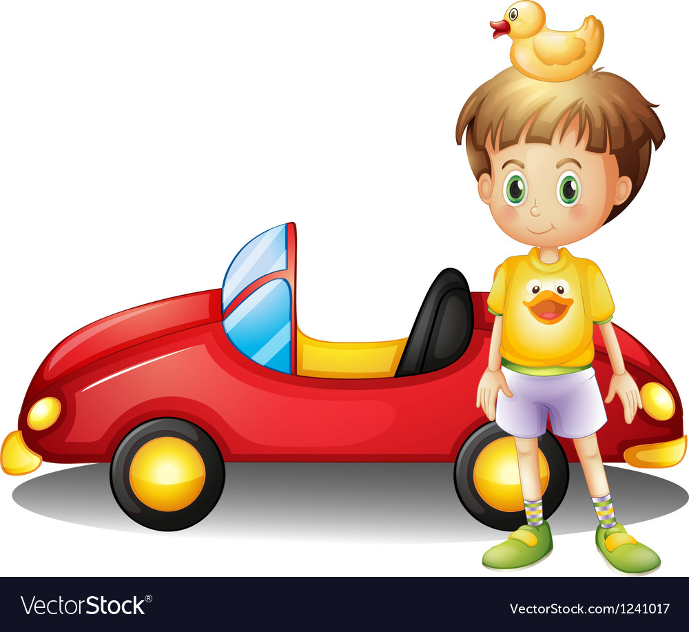A young boy with a rubber duck and a big toy car vector