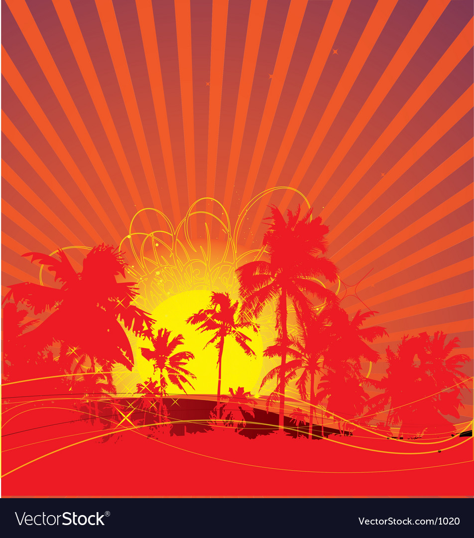Free tropical rising sun vector